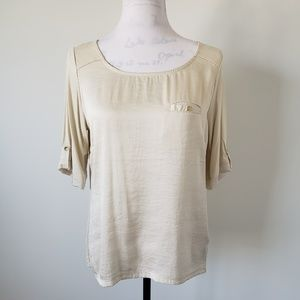 The Limited Cream Pocket Blouse Womens Medium